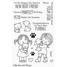 "MFT STAMPS: New Best Friend x Clear Photopolymer Stamp Set) This 16 piece set includes: Characters 1 ¾"" x 2 ¾"", 1 ¾"" x 2 Cat x Dog x Paw prints x ½"", ½"" x Hearts x ¼"" x ¼"", x Sentiments ranging from ½"" (Woof) to 2 (Have a Pawfect Birthd Happy Friends, Best Friends, Tampons Transparents, Mft Stamps, Whimsy Stamps, Simon Says Stamp, Digital Stamps, Clear Stamps, Your Pet"