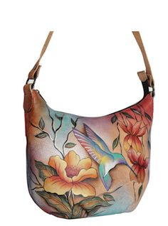 anuschka handbags | Anuschka Bags HAND PAINTED Leather Medium Hobo 471FLJ Womens