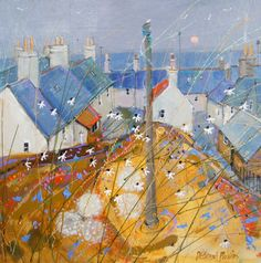 Deborah Phillips_Portsoy Daisies_Hand Embellished Signed Limited Edition_15x15 l Scottish Contemporary Art