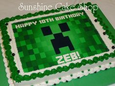Simple edible image Minecraft cake. I personally hate to work with edible images, but this one looked good using one.