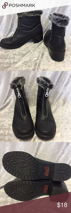 Black boots by Sporto with faux fur Sporto black boots with front zipper and faux fur at the toon. Excellent condition. Heel height is 2 inches. Total height is 7 1/4 inches. Size 7. Sporto Shoes Ankle Boots & Booties