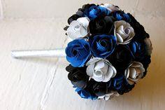 Paper Flower Bouquet Wedding Blue Black by TheLittleRedButton, $120.00