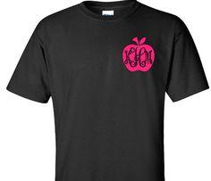 Apple Monogram Shirt Teacher Gift Teacher Monogram by VinylDezignz, $21.95