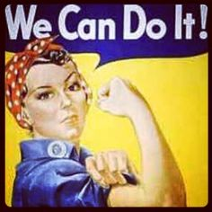 "We can do it! #OneWomanCan  affiche de propagande  ""la riveteuse"" ou Rosie the riveter.  Publié en 1943 pendant la 2eme guerre mondiale. Affiche réalisée par J. Howard Miller pour Westinghouse, une compagnie d'armement sous la supervision du "" national war production board"". L'affiche est   adressée aux femmes des Etats-Uniens quand tous les hommes étaient partis au font."