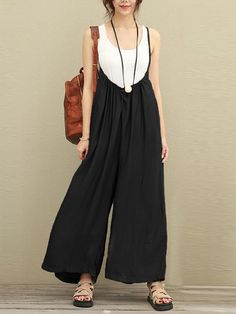 c8e468381678 Women Casual Sleeveless Strap Baggy Wide Leg Pant Jumpsuit Rompers Fashion  Jumpsuits