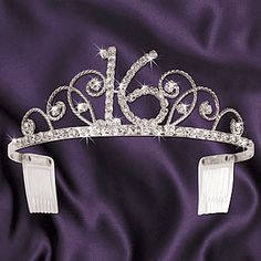 This Sassy 16 Tiara is an ideal accessory for the guest of honor to wear at a Sweet 16 Party. It features rhinestones in the shape of a 16 in the center. It is made of metal and has combs in the side for a secure and comfortable fit. The party tiara is 6 Sweet 16 Themes, Sweet 16 Decorations, Sweet 16 Birthday, Birthday Parties, Birthday Ideas, Birthday Photos, Birthday Presents, Happy Birthday, Dessert Stand