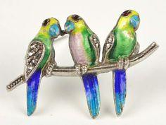 Vintage Sterling Silver Germany Enameled Parakeet Bird Brooch