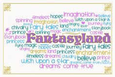 """Fantasyland Word Cloud - Title card - Project Life Filler Card - Scrapbooking ~~~~~~~~~ Size: 6x4"""" @ 300 dpi. This card is **Personal use only - NOT for sale/resale** Fantasyland belongs to Disney. Fonts are Smiley Monster www.kevinandamanda.com/fonts/freescrapbookfonts/smiley-monster/ and Storybook www.dafont.com/storybook.font *** This card is only available in this 6x4"""" size ***"""
