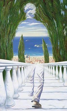 """""""Mas onde não é dentro?""""  - Casimiro de Brito, """"Fragmentos de Babel"""". ...................................... Vladimir Kush, Descent To The Mediterranean"""