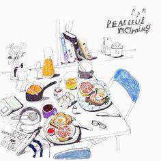 London Menu by artist Gim Hye Bin Editorial Illustration, Food Painting, Food Drawing, Food Illustrations, Art Sketchbook, Cute Art, Food Art, Art Drawings, How To Draw Hands