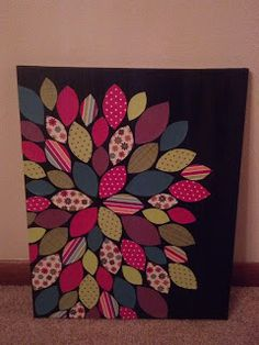 scrapbook paper and painted canvas--DIY wall art