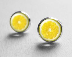 Hey, I found this really awesome Etsy listing at https://www.etsy.com/listing/113210898/tiny-lemon-earrings-yellow-miniature