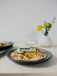 Easter Leftover Honey Ham Breakfast Tacos with White Cheddar Cheese, Avocado, and Chipotle Crema on a Gluten Free Cassava Root and Coconut Tortilla! - The Effortless Chic