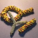 Homemade rope dog toys!  Tough enough to survive heavy chewers.  Made with nylon climbing rope.