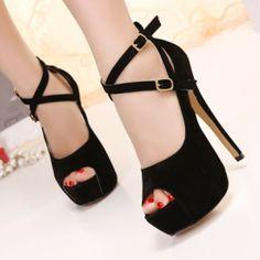Suede Cross Ankle Wrap Pumps on Luulla Platform Stilettos, High Heels Stilettos, Peep Toe Heels, Stiletto Heels, Pumps, Super High Heels, Black High Heels, Flatform, Black Suede