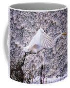 Great Egret Flight Landing At Dam Coffee Mug by Bill And Deb Hayes