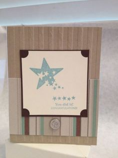 Congratulations handmade card With Star Burst Brown And Blue | cardsbylibe - Cards on ArtFire