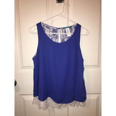 Blue tank top Blue and white layered tank top with lacy under layer! Never worn! Brand new. Tops Tank Tops