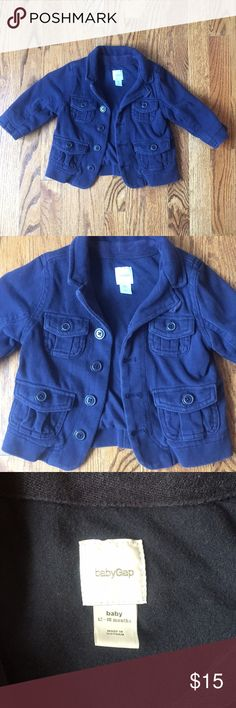 Baby Gap Cotton Jacket This sweet little jacket is 100 percent cotton! It's extremely soft. The color is definitely Navy. This jacket is styled to look like a Jean jacket or pea coat but the fabric is very soft and not structured like denim or wool. It's an adorable little coat! I think it would be cute on a little boy or little girl. GAP Jackets & Coats Pea Coats