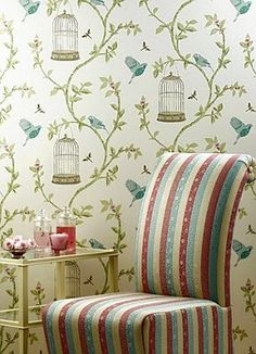 I have this Nina campbell wallpaper in duckegg blue...you never tire of it.....wonderful