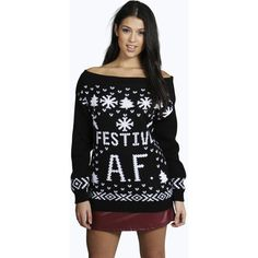 Boohoo Faith Festive A.F. Christmas Jumper ($26) ❤ liked on Polyvore featuring tops, sweaters, black, christmas sweater, nordic sweater, black jumper, chunky turtleneck sweater and christmas jumper