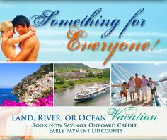 Something for Everyone.  Cruise Planners is about much more than simply cruise vacations, and these specials show that there truly is something for everyone!  Whether by land, sea or river, your next vacation awaits!  Check out these time-sensitive deals, with expirations from June 7 - July 10 - these deals won't last forever! Book early so you can start planning for the fun!  #cruiseplanners