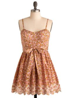 Notes of Appalachia Dress. Youll surely part crowds at the summer folk festival by donning this dainty floral-printed frock. #modcloth
