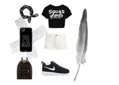 """""""Black and white"""" by thatnutella ❤ liked on Polyvore featuring Yves Saint Laurent, NIKE, Casetify, Ted Baker, rag & bone and Boohoo"""