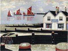Melvyn Evans, Oyster Smack and Thames Barges Approaching Whitstable Harbour, Linocut