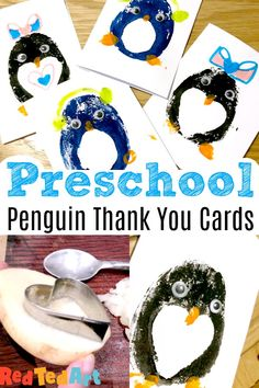 Potato Printing Penguin Cards for Preschoolers – Red Ted Art Red Ted Art's Easy Penguin cards to make with preschoolers. A fun wintery activity to both make and send. The perfect activity for after Christmas, when sending Thank You Cards to relatives! Animal Crafts For Kids, Paper Crafts For Kids, Easy Crafts For Kids, Toddler Crafts, Art For Kids, Simple Christmas Cards, Christmas Crafts, Christmas Ideas, Craft Activities