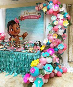 Moana Birthday Decorations, Moana Birthday Party Theme, Moana Themed Party, Mermaid Theme Birthday, Birthday Party Centerpieces, Birthday Backdrop, Balloon Decorations Party, 1st Birthday Parties, Monster Party