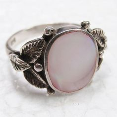 Vintage signed P and D 925 sterling silver mother of pearl size 7 ring.