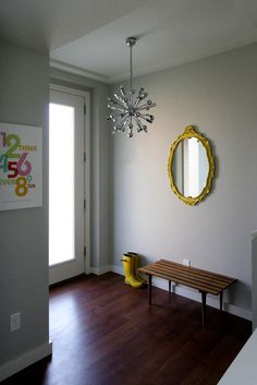 The Binghams' Budget & Design Friendly Family Home - light fixture Yellow Mirrors, Interior And Exterior, Interior Design, House Yard, Living Room Color Schemes, Affordable Housing, Grey Walls, Room Colors, Home And Family