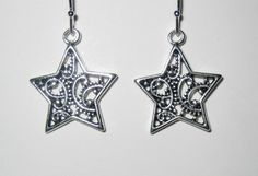 Silver Star Drop Earring with Filigree Design