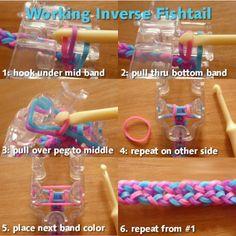 Fishtail Patterns for the Monster Tail Loom Rainbow Loom Easy, Rainbow Loom Bracelets Easy, Loom Band Bracelets, Rainbow Loom Tutorials, Rainbow Loom Patterns, Rainbow Loom Creations, Rainbow Loom Bands, Rainbow Loom Charms, Rubber Band Bracelet
