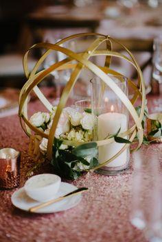 Geometric gold sphere centerpiece | Cloud 9 Weddings