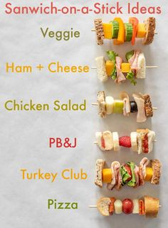 """6 easy """"Sandwich-on-a-Stick"""" Lunch Box Ideas are perfect to take to school or wo. 6 easy """"Sandwich-on-a-Stick"""" Lunch Box Ideas are perfect to take to school or work and are a fun twist on all of you Healthy Lunches For Kids, Toddler Lunches, Lunch Snacks, Toddler Food, Easy Healthy Lunch Ideas, Simple Lunch Ideas, Summer Lunches, Best Snacks For Kids, Kids Lunch Box Ideas Schools"""