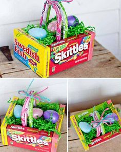 A DIY edible Easter egg basket - this is wonderfully easy to put together, and will be a hit on Easter. gifts ideas for Easter Easter Candy, Hoppy Easter, Easter Egg Basket, Easter Eggs, Easter Food, Easter Table, Easter Basket Ideas, Easter Stuff, Easter Ideas For Kids