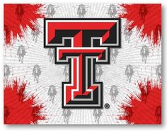 Texas Tech Red Raiders D1 Printed Logo Canvas.  Visit SportsFansPlus.com for Details.
