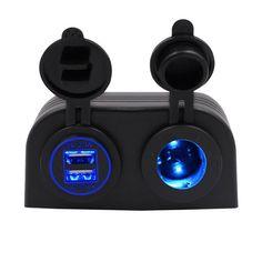 CS-489J1CaravanCarYacht4.2ACargador de coche USB dual universal con 12V Lámpara titular