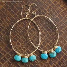 Bright Blue Turquoise Drops on Large Gold Wire Hoop Earrings--14k Gold Fill and Genuine Turquoise