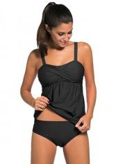 Including tankini swim top and triangle briefs. - Fashion modest two pieces swimsuit beach party tankini set. 1 Set of Tankini(Top&Shorts). - High quality stretch fabrics, lightweight, breathable and quick drying. Black Tankini, Black Swimsuit, Swimsuit Tops, Tankini Top, Bikini Swimsuit, Bikini Beach, Womens Tankini, Shorty, Swim Dress