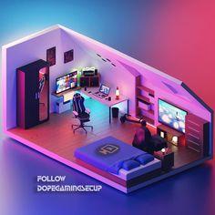 Gamer Bedroom, Bedroom Setup, Best Gaming Setup, Gaming Room Setup, Small Game Rooms, Computer Gaming Room, Video Game Rooms, Game Room Design, Dream Rooms