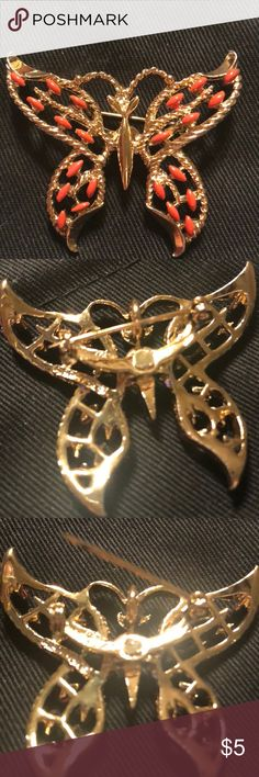 Butterfly Brooch Butterfly lovers will adore this Vintage brooch! Yellow metal is flawless and decorated up with pretty orange stone-like gem  Working pin hardware Looks new but bought in the 80's Jewelry Brooches