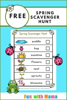 Celebrate the warmer weather with an spring scavenger hunt. This FREE printable will help your child practice their observation skills and learn about the changing seasons! It's a great way to entice your child outdoors and have some fun together. Preschool Scavenger Hunt, Outdoor Scavenger Hunts, Free Preschool, Preschool Printables, Toddler Activities, Preschool Activities, Free Printables, Toddler Scavenger Hunt, Kindergarten Worksheets