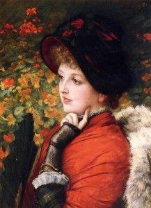 James Tissot - portrait of mrs kathleen newton in a red dress and black bonnet, 1880