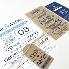 Trouwkaart Erik & Aafke - @designbyloes - www.loesvanmastwijk.nl