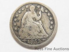 1853 United States Seated Liberty Silver Half Dime Coin