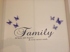 Muursticker quote woonkamer Family where life begins en love never ends