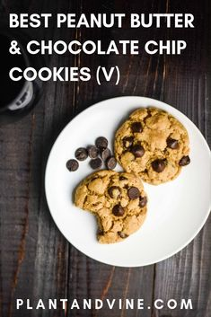 Best vegan peanut butter and chocolate chip cookies that are easy-to-make, soft, chewy, and delicious. Try not to eat all of the dough before baking! Pair with a glass of Merlot for a decadent dessert. Check out Plant & Vine for more vegan recipes and win Vegan Dessert Recipes, Vegan Snacks, Vegan Recipes Easy, Yummy Snacks, Wine Recipes, Cookie Recipes, Snack Recipes, Vegan Meals, Desert Recipes